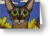 Whiskers Greeting Cards - Abyssinian  Greeting Card by Leanne Wilkes
