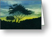 Tree. Acacia Greeting Cards - Acacia Tree Greeting Card by Michael Vigliotti