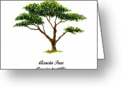 Tree. Acacia Greeting Cards - Acacia Tree Number Two Greeting Card by Michael Vigliotti