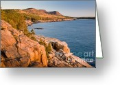Ocean Path Greeting Cards - Acadian Cliffs in Autumn 1 Greeting Card by Susan Cole Kelly