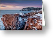 Ocean Path Greeting Cards - Acadian Cliffs Winter Sunrise 1 Greeting Card by Susan Cole Kelly