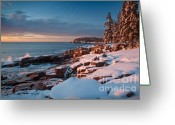 Trees And Rock Cliffs Greeting Cards - Acadian Winter Greeting Card by Susan Cole Kelly