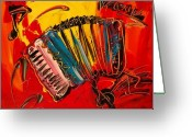 Landscape Posters Painting Greeting Cards - Accordeon Greeting Card by Mark Kazav