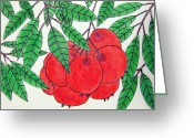 Guava Greeting Cards - ACEO - Strawberry Guava 1 Greeting Card by Daniel Goodwin