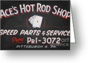 Car Hod Greeting Cards - Aces Hot Rod Shop Greeting Card by Clarence Holmes