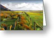 Rural Landscapes Mixed Media Greeting Cards - Achill Island - West Coast Ireland Greeting Card by Bob Salo