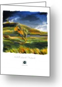 Irish Mixed Media Greeting Cards - Achill Island Ireland Autumn Colors Greeting Card by Bob Salo