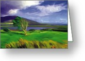 Irish Mixed Media Greeting Cards - Achill Island Ireland  sunny Greeting Card by Bob Salo