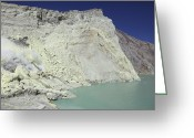 Fumarole Greeting Cards - Acidic Crater Lake, Kawah Ijen Volcano Greeting Card by Richard Roscoe