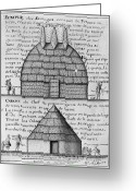 1732 Greeting Cards - Acolapissa Temple & Cabin Greeting Card by Granger