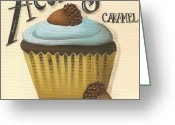 Caramel Greeting Cards - Acorn Caramel Cupcake Greeting Card by Catherine Holman