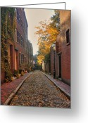 Cobblestone Street Greeting Cards - Acorn St. 3 Greeting Card by Joann Vitali