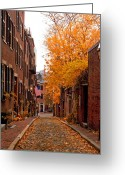 Cobblestone Street Greeting Cards - Acorn St. Greeting Card by Joann Vitali