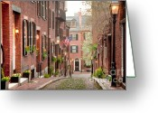 Suffolk County Greeting Cards - Acorn Street Greeting Card by Susan Cole Kelly