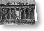 Surrealism Drawings Greeting Cards - Acropolis Greeting Card by George Rossidis
