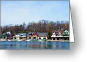 Sculling Greeting Cards - Across from Boathouse Row - Philadelphia Greeting Card by Bill Cannon