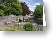 Dry Stone Wall Greeting Cards - Across Sheepwash Bridge - Ashford-in-the Water Greeting Card by Rod Johnson