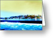 Boathouse Row Greeting Cards - Across the Dam to Boathouse Row. Greeting Card by Bill Cannon
