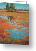 Bright Pastels Greeting Cards - Across the Field Greeting Card by Barbara Jaenicke
