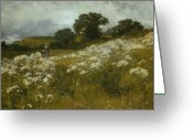 Sky Painting Greeting Cards - Across the Fields Greeting Card by John Mallord Bromley