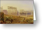 Williams Greeting Cards - Across the Forum - Rome Greeting Card by Hugh William Williams