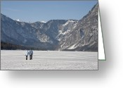 Lake Bohinj Greeting Cards - Across the frozen lake Greeting Card by Ian Middleton