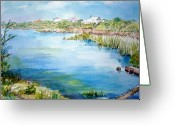 Lake Low Country Greeting Cards - Across The Lake Greeting Card by Dorothy Herron