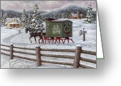Sleigh Greeting Cards - Across the Miles Greeting Card by Richard De Wolfe