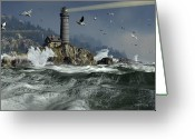 Crashing Waves Greeting Cards - Across the Surly Brine Greeting Card by Dieter Carlton