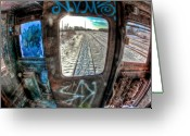 Graffiti Greeting Cards - Across the Tracks Greeting Card by Joshua Ball