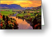 Reflections In Water Greeting Cards - Across the Valley Greeting Card by Stephen Anderson