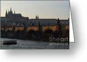 Karluv Most Greeting Cards - Across the Vltava River to Prague Castle Greeting Card by Serena Bowles