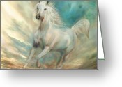 Horse Art Giclee Greeting Cards - Across The Windswept Sky Greeting Card by Carol Cavalaris