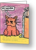 Goofy Greeting Cards - Act Natural Cat Greeting Card by Jera Sky