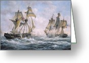 Waves Greeting Cards - Action Between U.S. Sloop-of-War Wasp and H.M. Brig-of-War Frolic Greeting Card by Richard Willis
