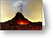 Catastrophe Greeting Cards - Active Volcano Greeting Card by Corey Ford