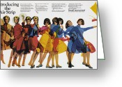 Advertisement Greeting Cards - Ad: Braniff Airlines, 1966 Greeting Card by Granger