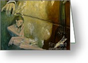 Live Music Greeting Cards - Adagio  Sentimental confusion Greeting Card by Dorina  Costras