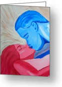 Man And Woman Greeting Cards - Adam and Eve Close Up Greeting Card by Angelina Vick