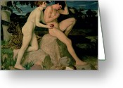Giving Greeting Cards - Adam and Eve  Greeting Card by William Strang