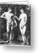 Genesis Greeting Cards - Adam & Eve Greeting Card by Granger