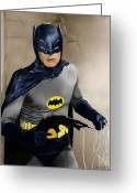 Old Tv Digital Art Greeting Cards - Adam West - Batman Greeting Card by Michael Tiscareno