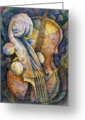 Classical Music Art Greeting Cards - Adams Cello Greeting Card by Susanne Clark