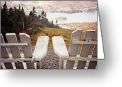No People Greeting Cards - Adirondack Chair On Mountain Top Greeting Card by Angela Auclair