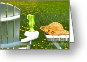 Summertime Drink Greeting Cards - Adirondack chair on the grass  Greeting Card by Sandra Cunningham