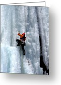 Axe Greeting Cards - Adirondack Ice Climber  Greeting Card by Brendan Reals