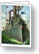 Military History Greeting Cards - Admiral Deweys Flagship Olympia  Greeting Card by War Is Hell Store