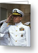 Officer In Uniform Greeting Cards - Admiral Michael Mullen Salutes Greeting Card by Michael Wood
