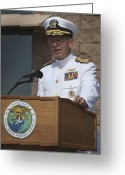 United States Special Operations Command Greeting Cards - Admiral Mike Mullen Speaks Greeting Card by Michael Wood