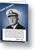 Theater Digital Art Greeting Cards - Admiral Nimitz Speaking For America Greeting Card by War Is Hell Store